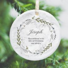In Loving Memory Personalised Remembrance Christmas Tree Decoration - Watercolour Wreath Design
